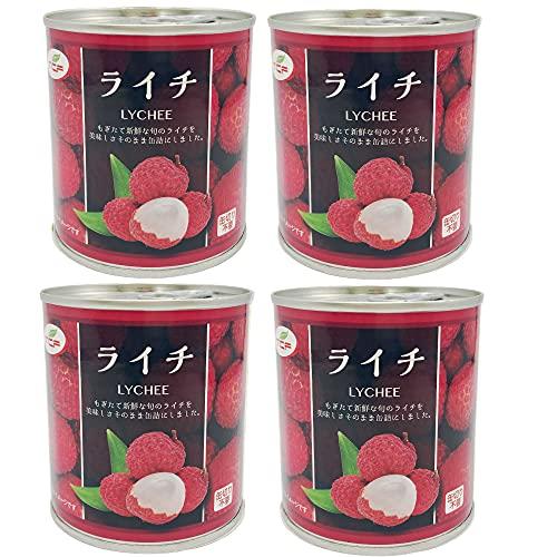 ライチ缶詰 300g×4缶 シロップ漬け Lychee プルトップ缶 缶詰め かんづめ フルーツ