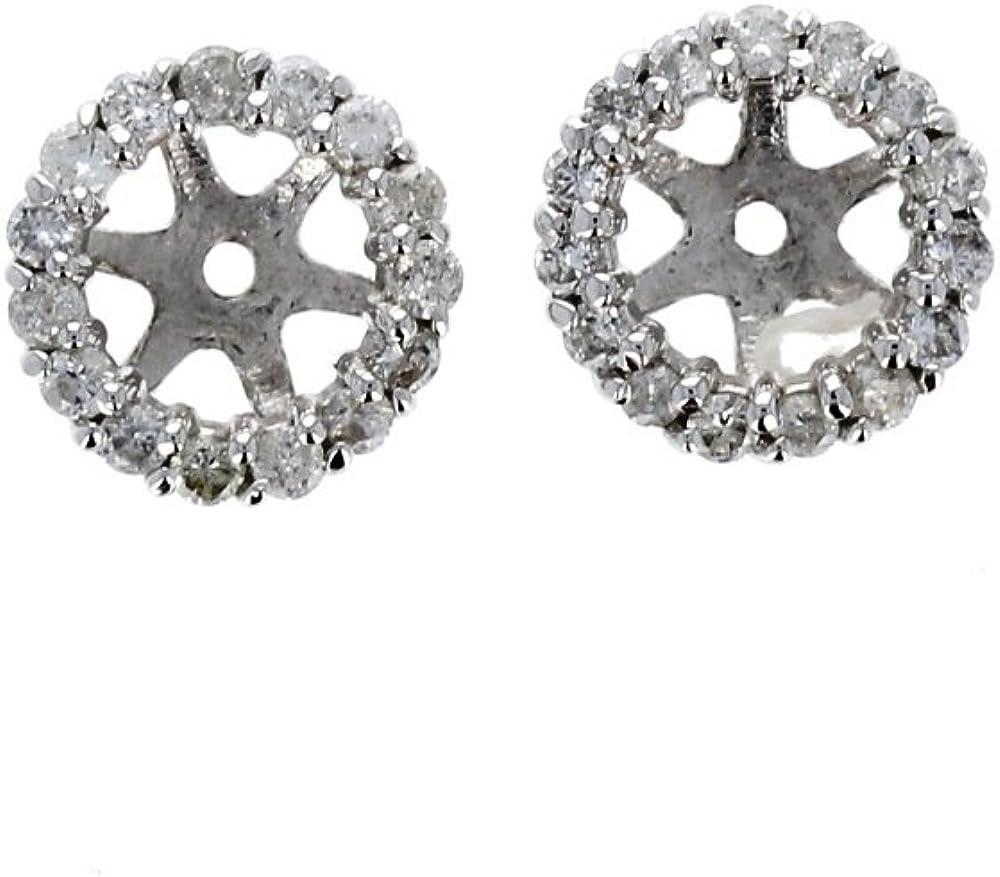 Earring Jacket, 14Kt White Gold Diamond Stud Earring Jacket, 0.30Tcw