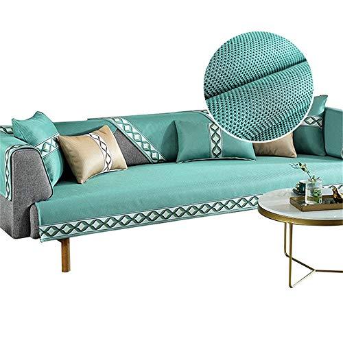 Fundas de sofá deSeda de Hielo de Verano de 5 Colores,Fundas de sofá de algodón,Fundas de sofá para Perros,Mascotas,Verde,70x180cm