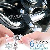KiWAV Motorcycle Round Bolt Cap Screw Cover Plug Chrome for 6mm Thread Allen Head Bolts, ie M5 Allen Key