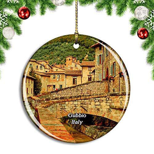 Weekino Italien Gubbio Umbrien Weihnachtsdekoration Christbaumkugel Hängender Weihnachtsbaum Anhänger Dekor City Travel Souvenir Collection Porzellan 2,85 Zoll