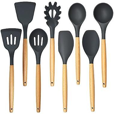 Cooking Utensils,8 Piece Kithcen Utensils Set,Shxmlf Wood Utensils Set Wood Spoon Spatula Set, Non-stick Utensil Set,Gray Kitchen Utensils, Eco-friendly(8)
