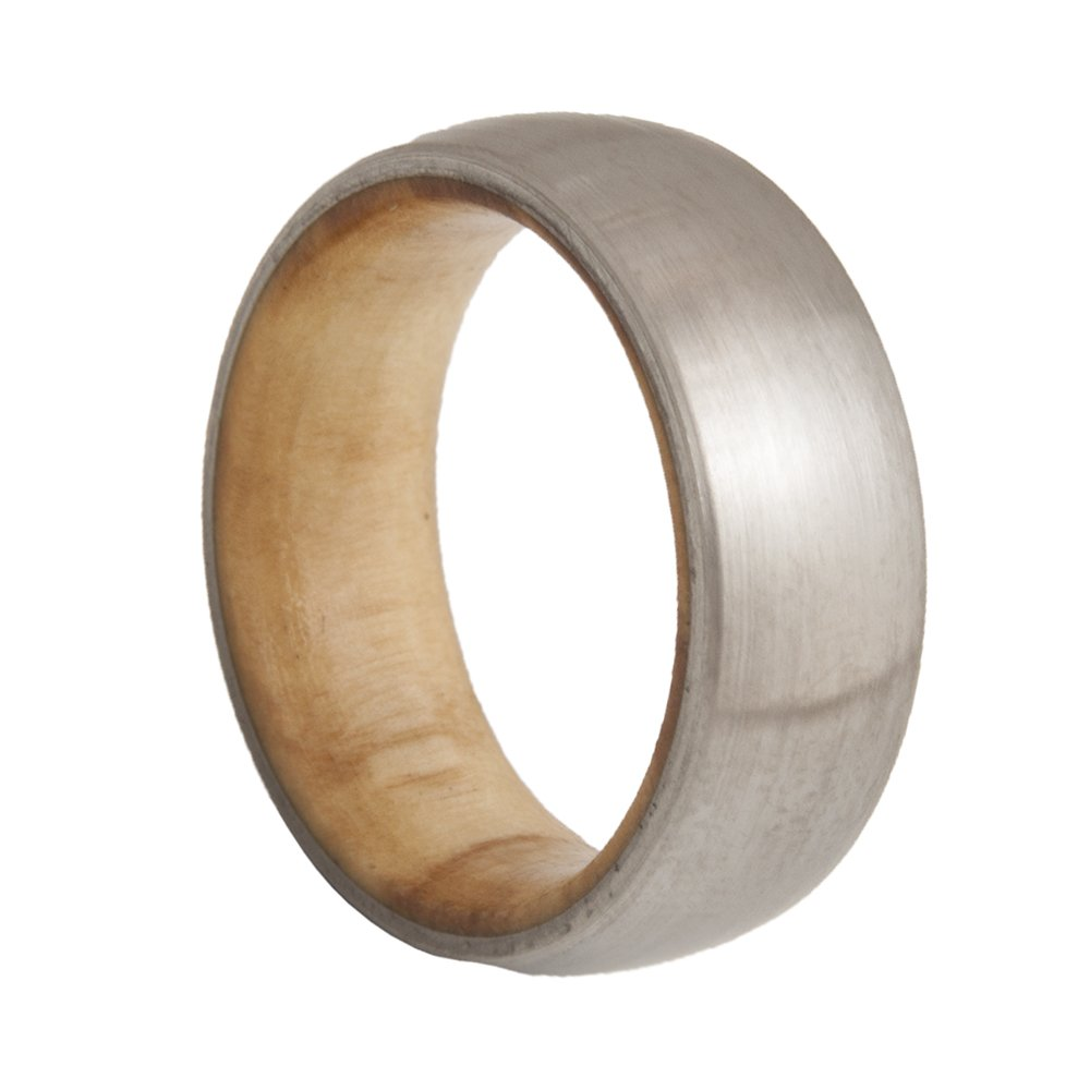 WOOD Overseas parallel import regular item RING Titanium Wedding Band Limited time trial price Ring Wood OL Wooden