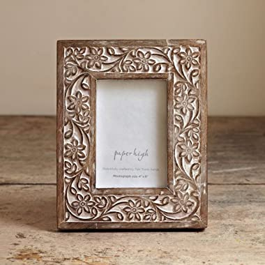 Paper High Antique White Flower Mango Wood Photo Frame fits 4  x 6  photo