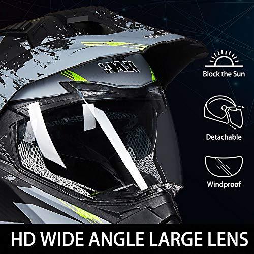 L, Grey-Yellow ILM Off Road Motorcycle Dual Sport Helmet Full Face Sun Visor Dirt Bike ATV Motocross DOT Approved