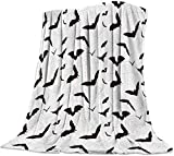 Lightweight Cozy Bed Blanket Throw Fuzzy Super Soft and Warm Throw Flannel Blankets for Couch Sofa Bed Beach Travel,Halloween Bat,Black White (51 x 63 Inches)