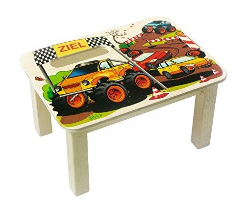 Hess houten speelgoed 30288 – voetenbank van hout, monstertruck, ca. 34 x 25 x 19 cm.
