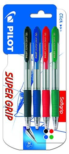 Pilot Spain - mod. Super Grip–Confezione di 4penne, punta media, multicolore