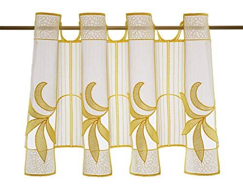 Tenda della finestra couching altezza 30 cm | Può scegliere la larghezza in segmenti da 15,5 cm, come vuole | Colore: bianco con il giallo | Tendine cucina