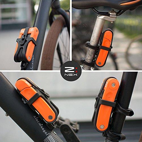 Z:NEX Fahrradschloss/Faltschloss/Gliederschloss mit hoher Sicherheitsstufe/Speziell gehärteter Stahl / 8 Glieder/sehr leicht & kompakt – nur 686g / inkl. Transporttasche/Halterung - 6
