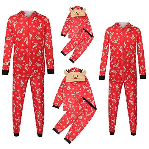 Christmas Pajamas for Family Hoodies Matching Pjs Set, Xmas Deer Cap Red Hooded Zipper Tops Pants Jammies Suit
