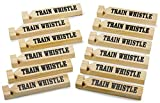 Kicko 12 Pack Wooden Train Whistles, 5.75 Inch - Printed On A Locomotive and Words Train Whistle and Choo Choo - for Kids of All Ages, Party Favor