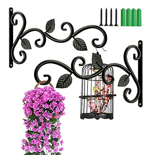 Percha de hierro para plantas, 2 soportes para cestas colgantes para plantas, ganchos para cesta de jardín, linterna, césped, macetas de flores para colgar soportes (negro)