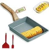 tamagoyaki poêle à omelette japonaise carrée avec spatule en silicone et brosse, revêtement