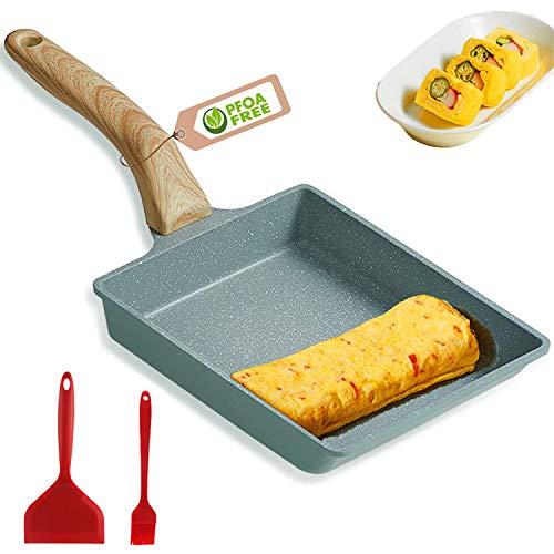 MIHUNTER Tamagoyaki Japanische Omelettpfanne/Omelette Pfanne Tamago Pfanne Mini Bratpfanne/Quadratische Eierpfanne, mit Silikonspatel & Pinsel/Antihaftbeschichtung (PFOA-frei)/20 x 15 cm