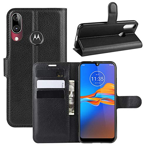 betterfon | Motorola Moto E6 Plus Hülle Handy Tasche Handyhülle Etui Wallet Hülle Schutzhülle mit Magnetverschluss/Kartenfächer für Motorola Moto E6 Plus Schwarz