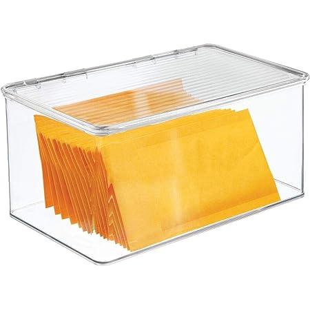 mDesign Boite de Rangement pour Le Bureau – Rangement de Bureau en Plastique sans BPA – Boite avec Couvercle pour stylos, Gomme et Autres Accessoires de Bureau – Transparent