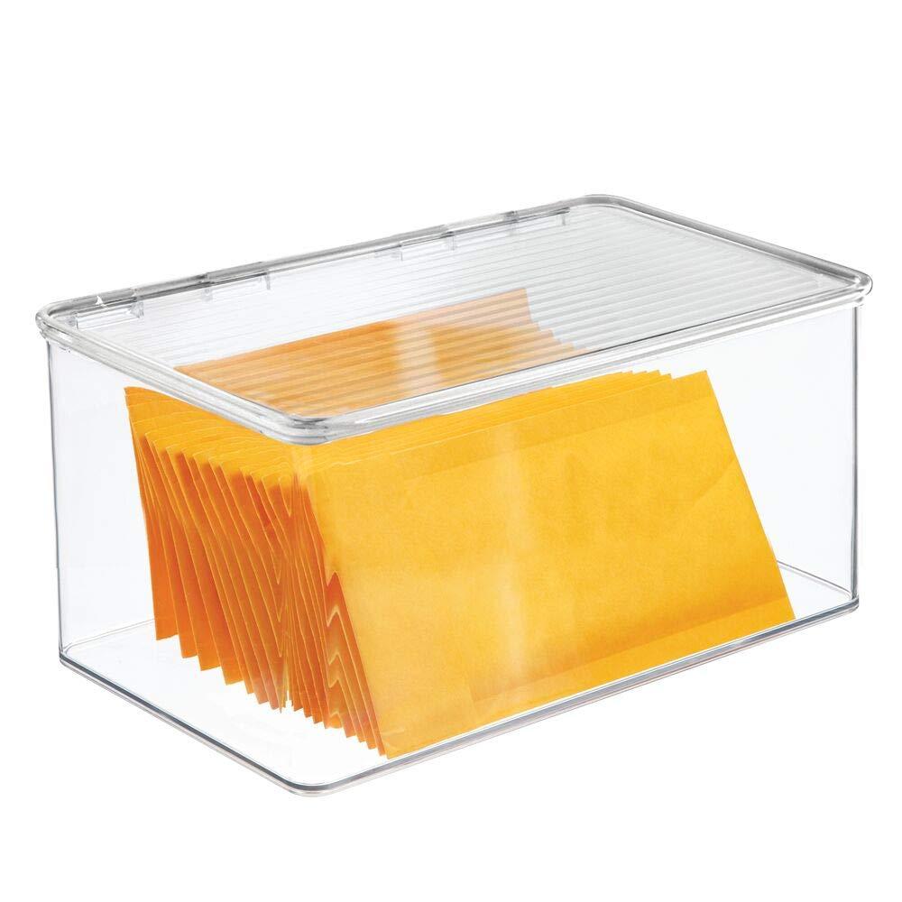 Pr/áctico organizador de despensa sin tapa transparente Organizador de nevera con ranuras laterales de ventilaci/ón mDesign Juego de 2 cajas pl/ásticas organizadoras