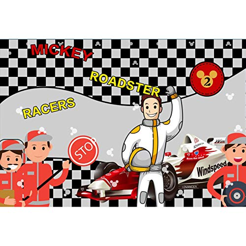CSFOTO 5x3ft Car Racing Themed Backdrops for Photography Race Car Backgrounds Mickey Roadster Racers Birthday Party Banner Motorsport Sport Competition Adults Portrait Wallpaper
