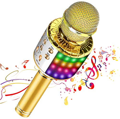 Micrófono inalámbrico Bluetooth Karaoke con luces LED multicolores, Micrófono portátil portátil 4 en 1 con cambio de voz mágico(Gold)