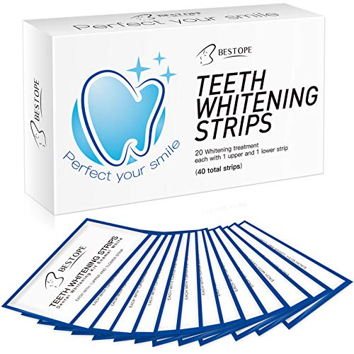 BESTOPE Teeth Whitening Strips(40Pcs), Professional Tooth Whitener Kit with Advanced no-Slip Technology Remove Stains, Fast Result & No Sensitivity (40pcs)