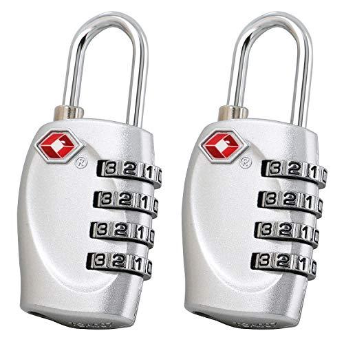 TRIXES x 2 Lucchetto di sicurezza a 4 combinazioni per valigia approvato dalla TSA - argento