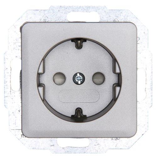 Kopp 915020089 Schutzkontakt-Steckdose mit erhöhtem Berührungsschutz, stahlfarben, 250 V