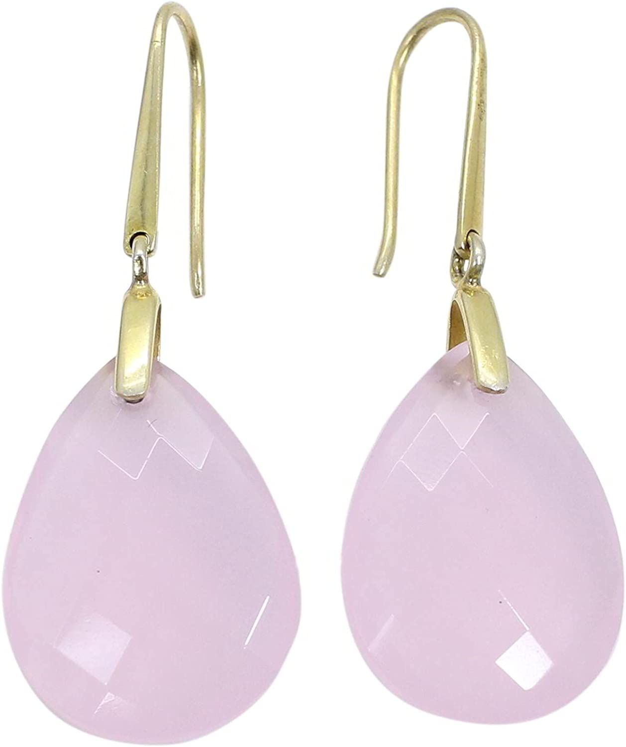 925 Sterling Silver SALENEW very popular Rose Fresno Mall Quartz Gold Plated mm 48 Earring