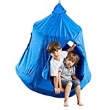 Kids Outdoor Waterproof Play Tent Hanging Hammock with Lights String(Blue)