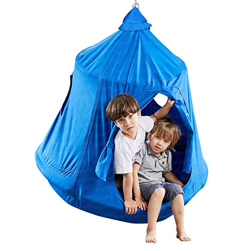 Kids Outdoor Waterproof Play Tent Hanging Hammock with Lights StringBlue