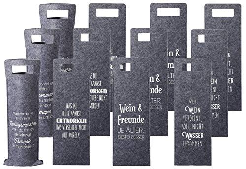 Bada Bing 12er Set Geschenkverpackung Wein Filz Mit Spruch Flaschenverpackung Tasche Für Weinflasche Gift Für Freunde Package Geschenktasche 4fach Sortiert 88