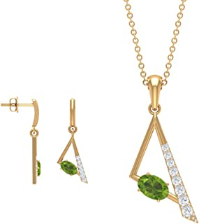 HI-SI Diamond Pendant and Earring Set, 1.56 CT Solitaire Peridot Pendants, Triangle Dangle Earrings, August Birthstone Nec...
