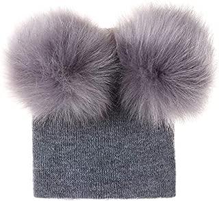 TOOGOO Children's Knitted Cap Super Double Ball Wool Cap Baby's Wool Cap Warm Hat Pompom Hat Unisex Hair Accessories Black