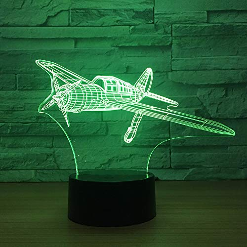 3D Night Light,Fighter 3D Illusion Lamp 7 Color Plane Led 3D Night Lights for Kids Touch USB Table Lampara Lampe Baby Sleeping Nightlight,Touch Switch