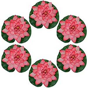 Famgee 7 Inches Artificial Lifelike Floating Foam Lotus Flower Water Lily for Garden Pond Decor, Set of 6