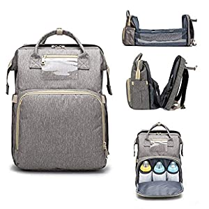 4 in 1 Travel Bassinet Foldable Baby Bed, Diaper Bag Backpack, Mummy Bag Backpack Crib, Travel Crib Infant Sleeper, Nursery Travel Bed Bassinet – Baby Nest with Mattress (Gray)