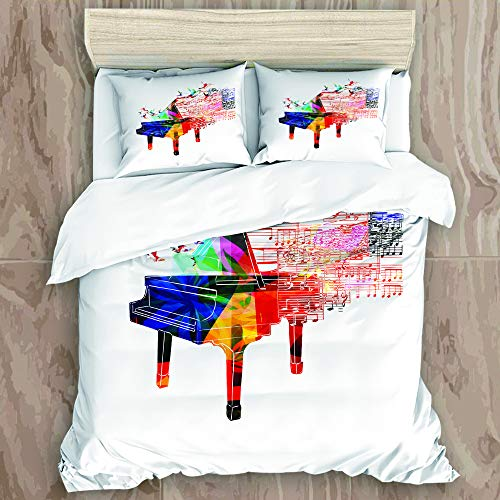 XWJZXS1 Duvet Cover Set,Colorful Piano Design with Flying Hummingbirds and Clef with Notes Fantastic Melody,Decorative 3 Piece Bedding Set with 2 Pillow Shams, Twin Size