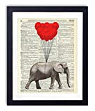 Elephant With Balloons Upcycled Vintage Dictionary Art Print Kids Bedroom Nursery Wall Decor 8x10
