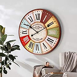 SkyNature Large Wall Clock, Wooden Rustic Decorative Clock with Colorful Roman Numerals, Indoor Silent Non-Ticking Battery Operated Clock for Living, Dining, Bedroom, Kitchen & Den - 24 Inch