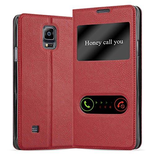 Cadorabo Hülle für Samsung Galaxy Note 4 - Hülle in Safran ROT – Handyhülle im Standfunktion und 2 Fenstern (View Design) - Case Cover Schutzhülle Etui Tasche Book Klapp Style