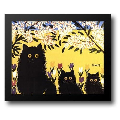 d742ce1d8cd Amazon.com  Three Black Cats 22x18 Framed Art Print by Lewis