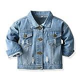 Baby Boys Girls Denim Jacket Kids Toddler Button Down Jeans Jacket Top(Light Blue, 130/5-6T)