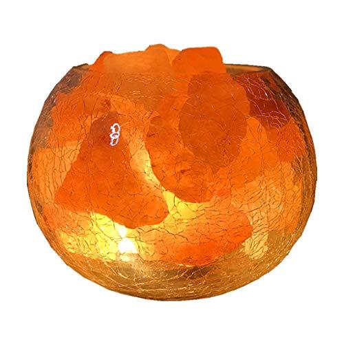 Nachtlichter Kristallsalzlampe Himalaya runde Tischlampe Schlafzimmerbett warmes Romantisches Hilfe Schlaf Dimmbar Spezial- & Stimmungsbeleuchtung (Color : Orange, Size : 15 * 12cm)