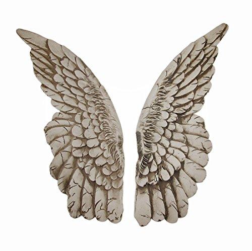 Zeckos Esculturas de Pared Resina alas de protección par de Acabado Envejecido alas de ángel Colgante 3,5x 11x 1,5cm Blanco Modelo # a41049