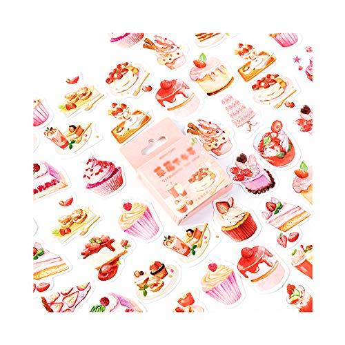 AIUIN 46x Ephemera Set Notizsticker im Stil von Strawberry Tee Aufkleber Japan Mädchen/Junge Sticker für Kinder Deko Sticker
