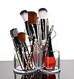 PuTwo Rangement Maquillage Rangement Pinceaux en Acrylique Transparent – 3 Cases Ronds