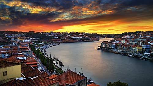 Adultos Puzzle 1000 Piezas de Madera Niño Rompecabezas Oporto, Ocaso Juego Casual de Arte Diy Juguetes Regalo Interesantes Amigo Familiar Adecuado