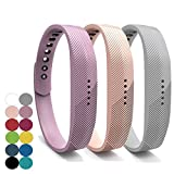 yefod Fitbit Flex Juego de 3correas de silicona de repuesto, para Fitbit Flex 2, color Lilac+Khaki+Gray