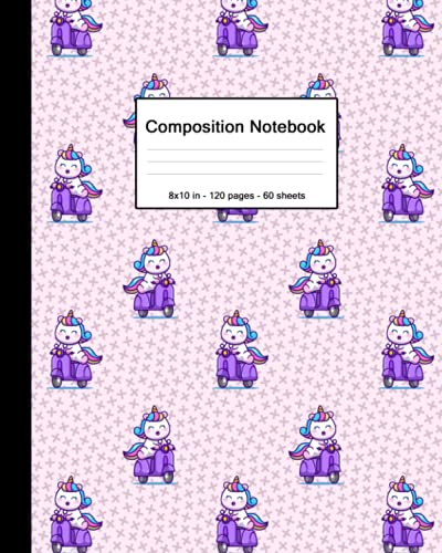 Composition Notebook: Blank College Ruled Paper Notebook | Glossy Medium Lined Workbook for Girls Boys Kids Teens Students | Baby Pink Kawaii Unicorn on Moped Scooter