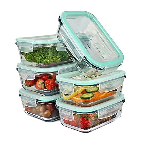 astor24 Glas-Frischhaltedosen-Set 16-teilig - Stapelbar - Aufbewahrungsbox - [8] - Luftventil -100% Auslaufsicher- und Gefrierschrank, Backofen geeignet - BPA frei (16 TLG)
